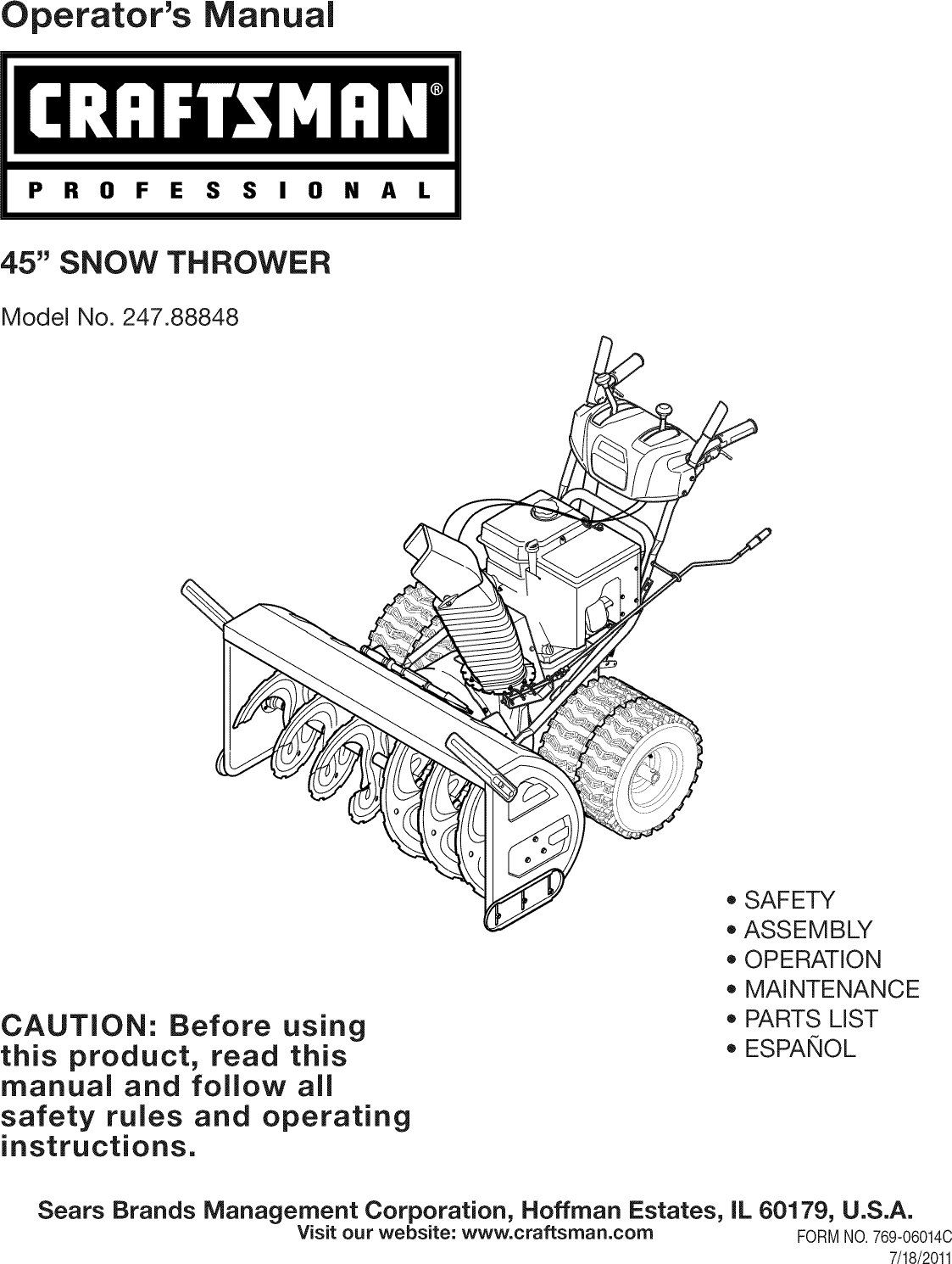 Craftsman 24788848 User Manual SNOW THROWER Manuals And