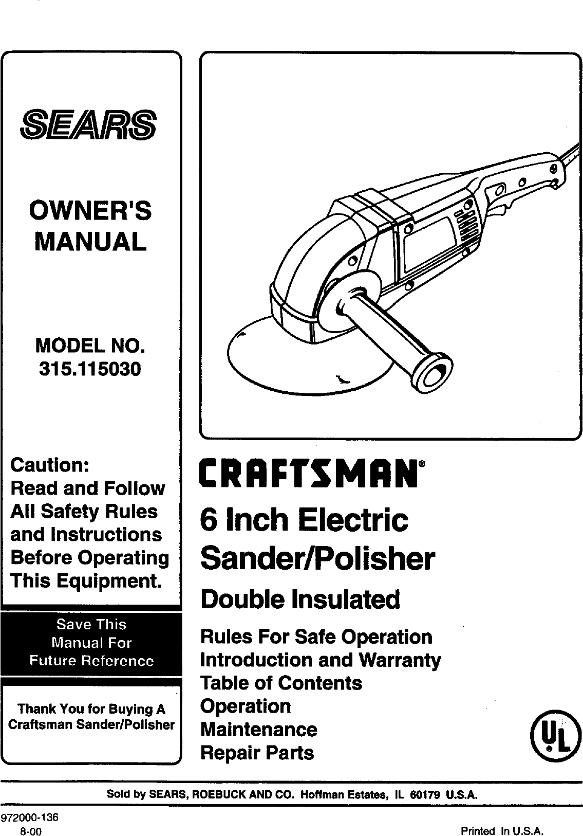 Craftsman 315115030 User Manual SANDER/POLISHER Manuals
