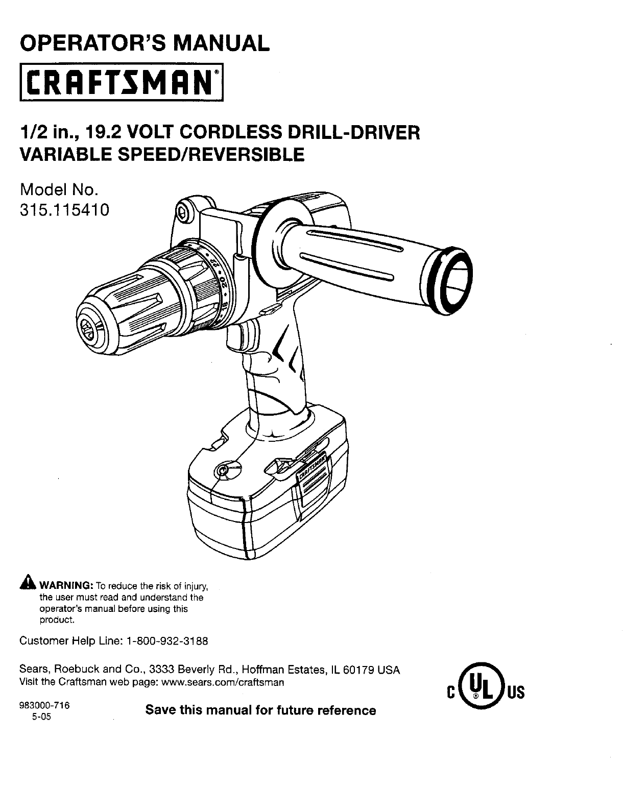 Craftsman 315115410 User Manual DRILL Manuals And Guides
