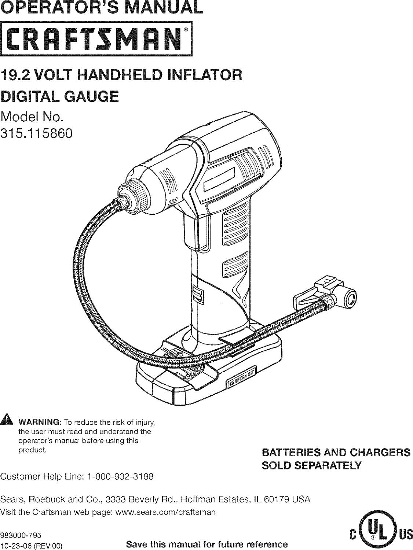 Craftsman 315115860 User Manual HANDHELD INFLATOR Manuals