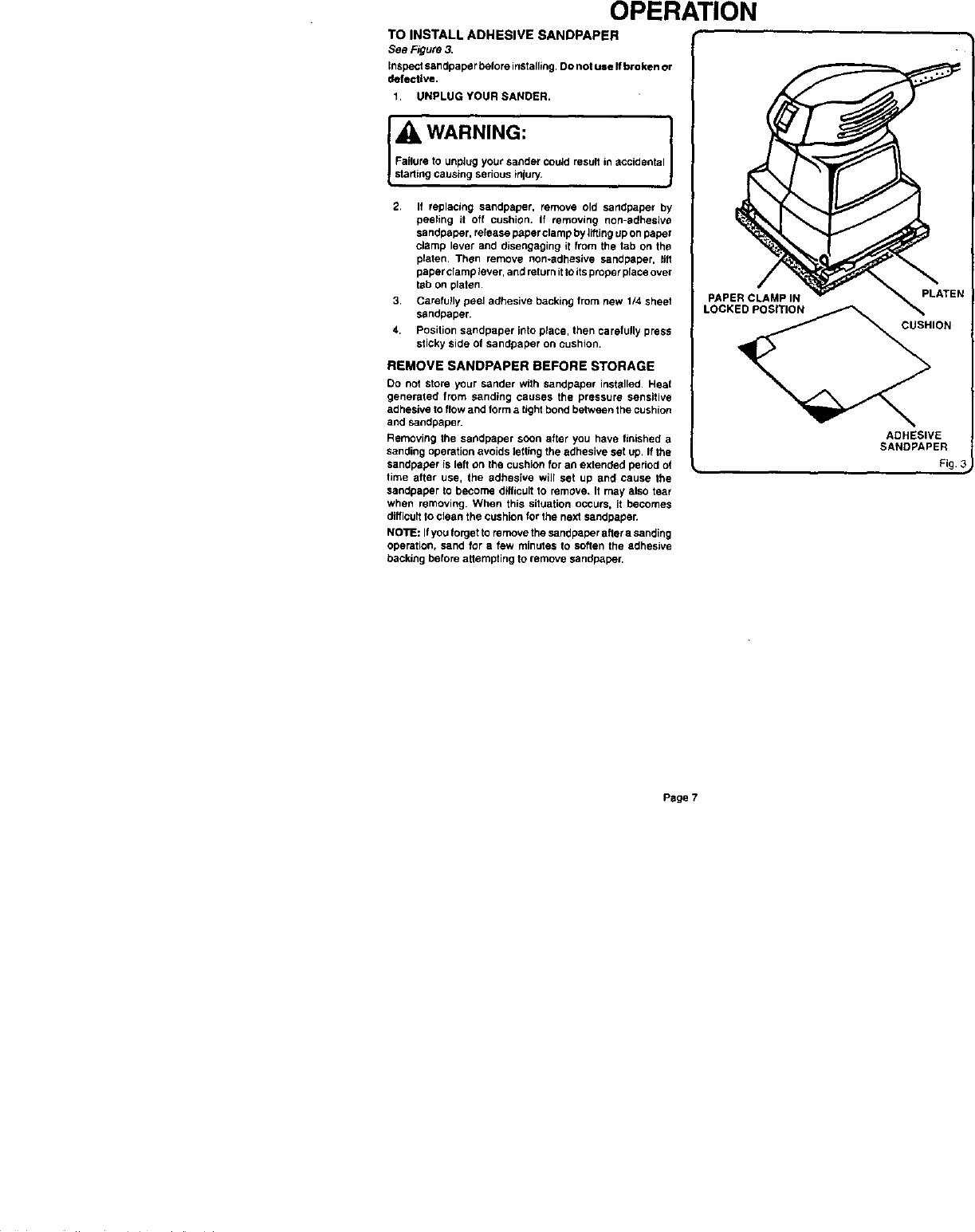 Craftsman 315116070 User Manual SANDER Manuals And Guides