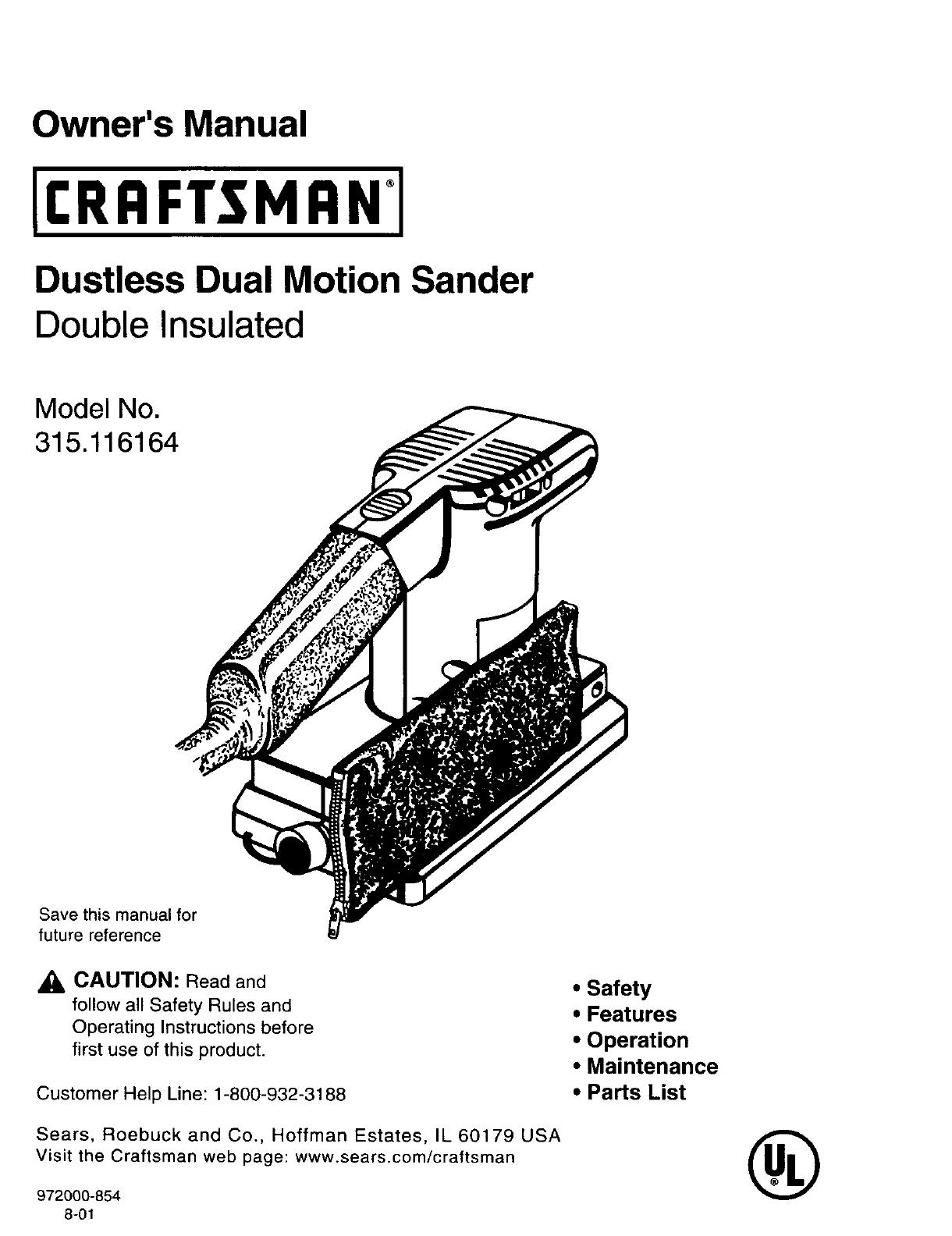 Craftsman 315116164 User Manual SANDER Manuals And Guides