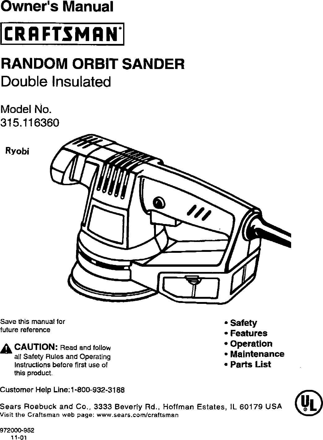 Craftsman 315116360 User Manual RANDOM ORBIT SANDER