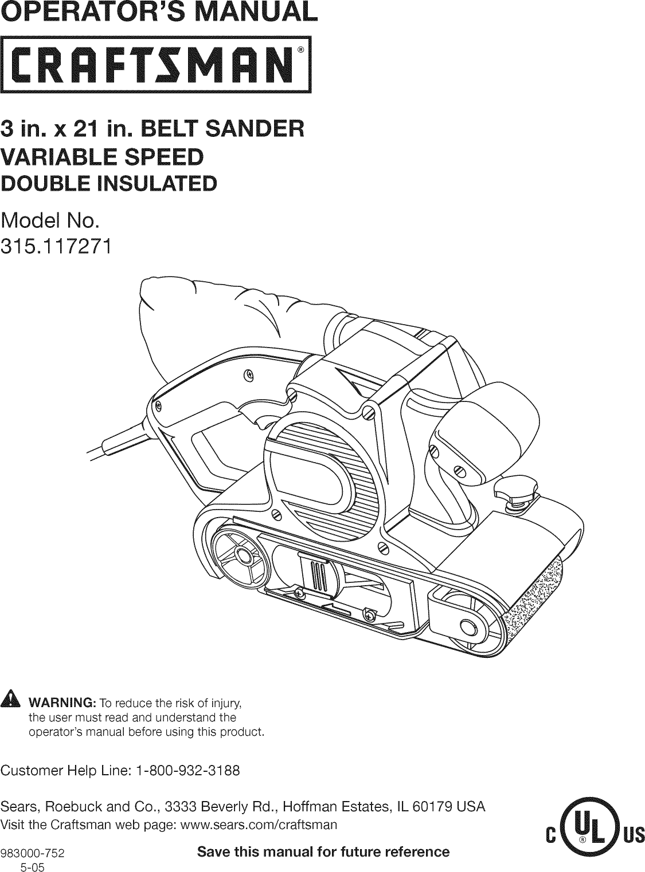Craftsman 315117271 User Manual BELT SANDER Manuals And