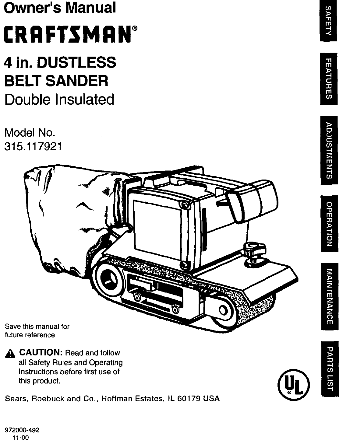 Craftsman 315117921 User Manual 4 DUSTLESS BELT SANDER