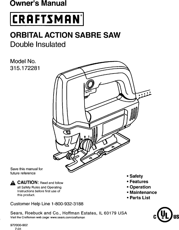 Craftsman 315172281 User Manual SABRE SAW Manuals And