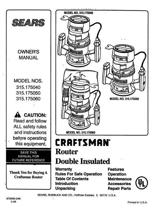 small resolution of craftsman 315175050 user manual double insulated router manuals and guides 98080200