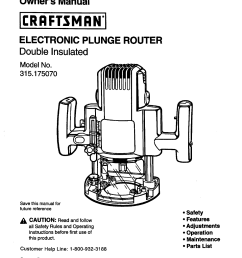 craftsman 315175070 user manual electronic plunge router manuals and guides l0090086 [ 1220 x 1584 Pixel ]