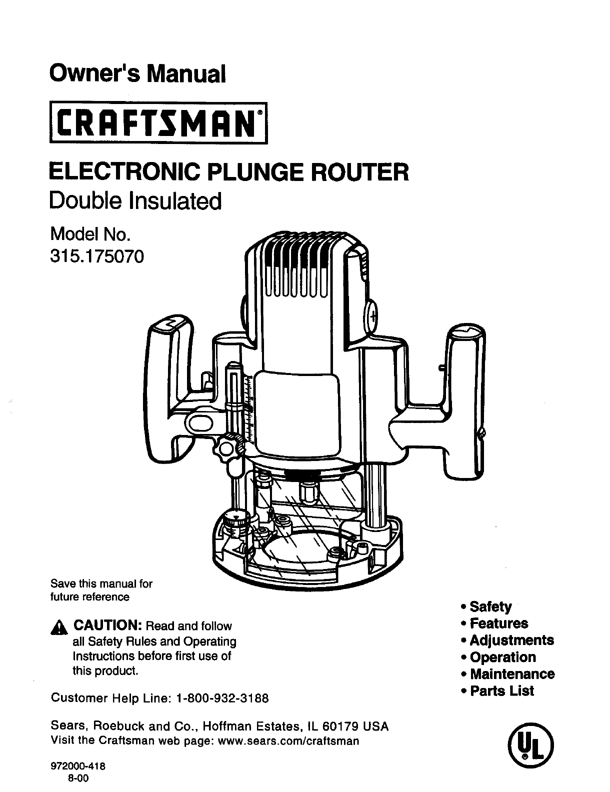 hight resolution of craftsman 315175070 user manual electronic plunge router manuals and guides l0090086