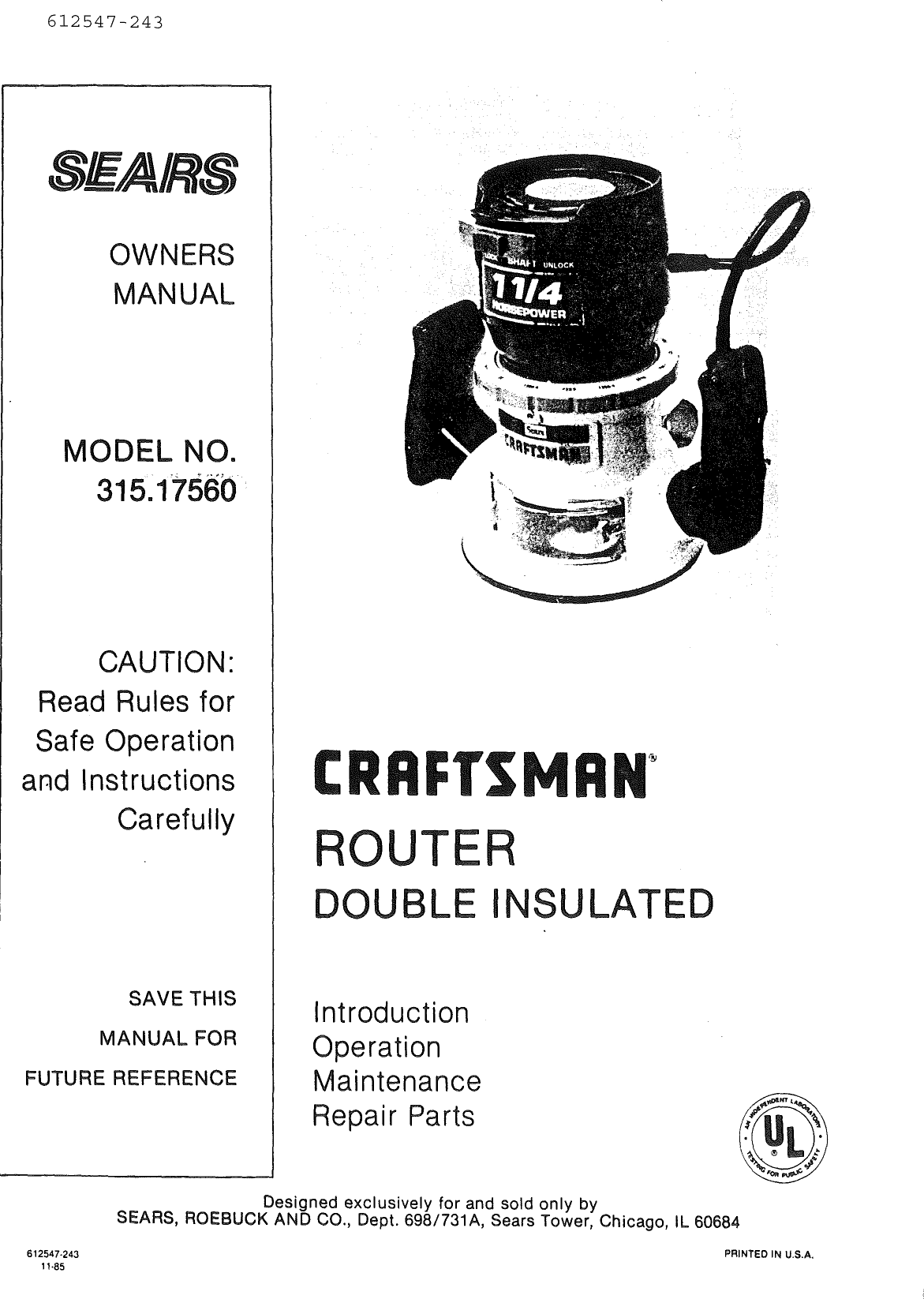 Craftsman Router Model 315 Parts