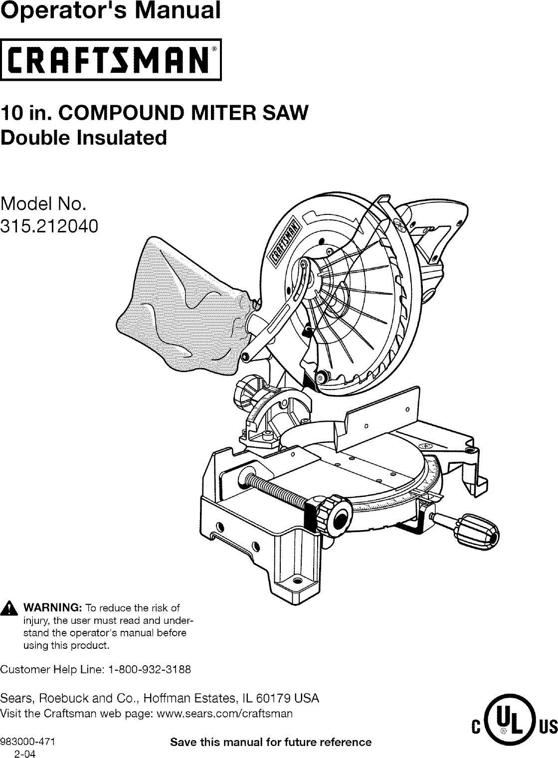 Craftsman 315212040 User Manual 10 COMPOUND MITER SAW