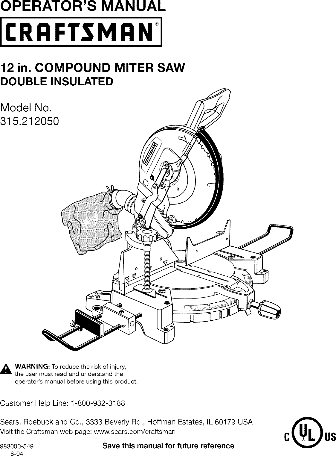 Craftsman 315212050 User Manual MITER SAW Manuals And