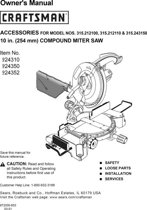 small resolution of craftsman 315212110 user manual 10 compound miter saw manuals and guides l1001368