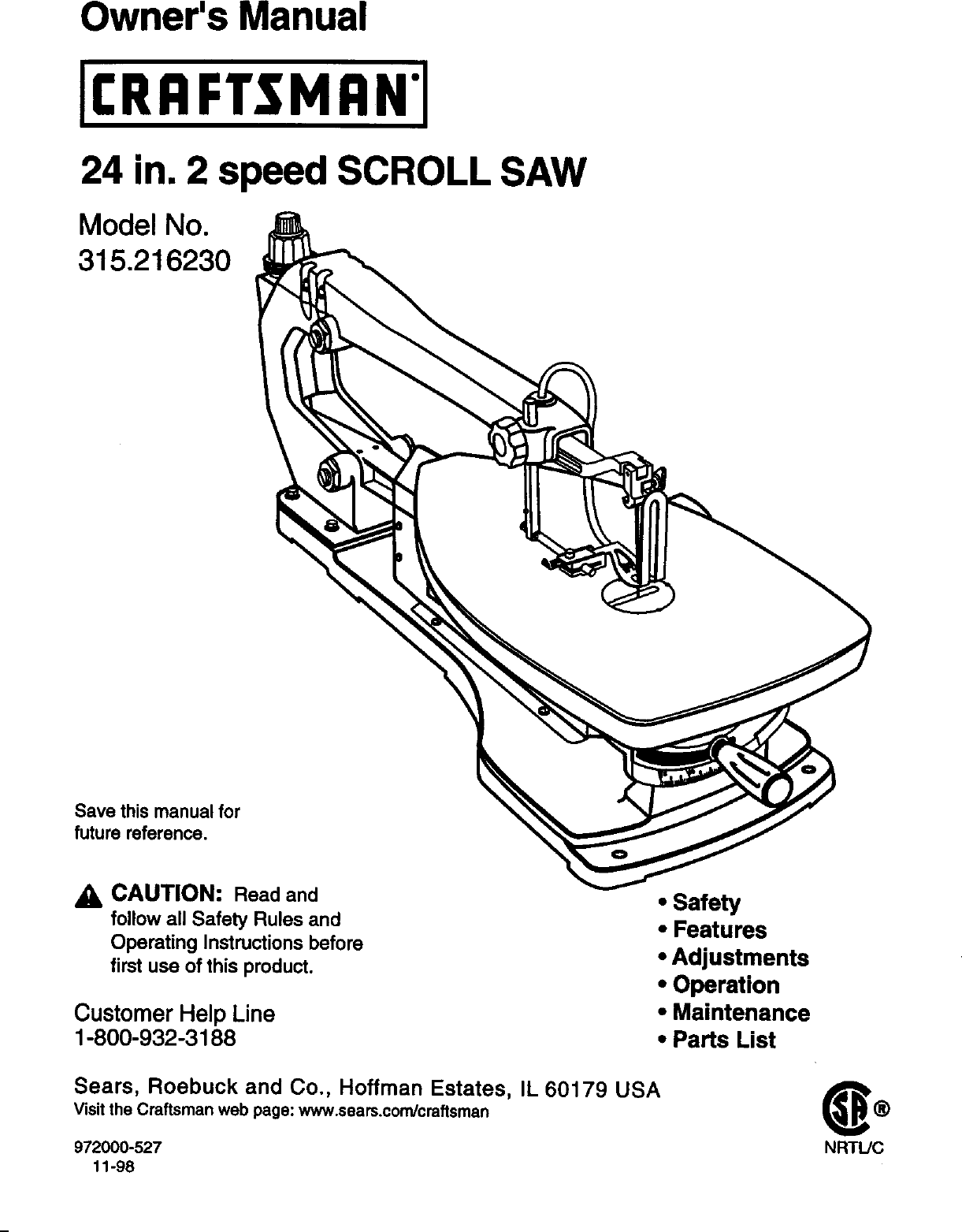 Craftsman 315216230 User Manual 24 IN. 2 SPEED SCROLL SAW