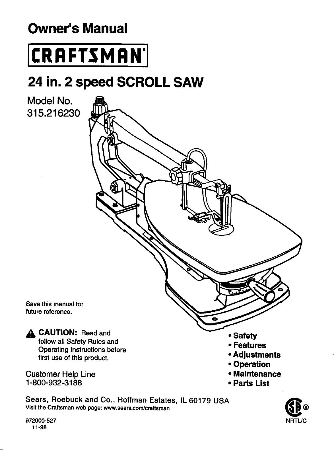 Craftsman 315216230 User Manual 24 IN. 2 SPEED SCROLL SAW