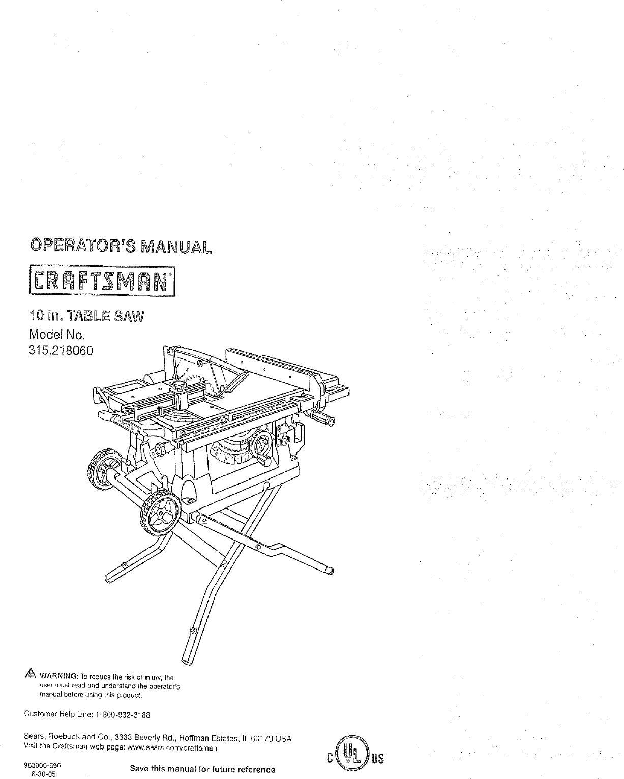 Craftsman 315218060 User Manual TABLE SAW Manuals And