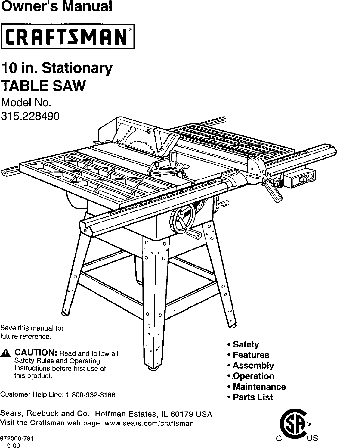Craftsman 315228490 User Manual TABLE SAW Manuals And