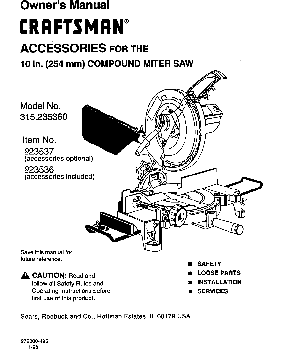 Craftsman 10 Inch Compound Miter Saw Model 315 Parts