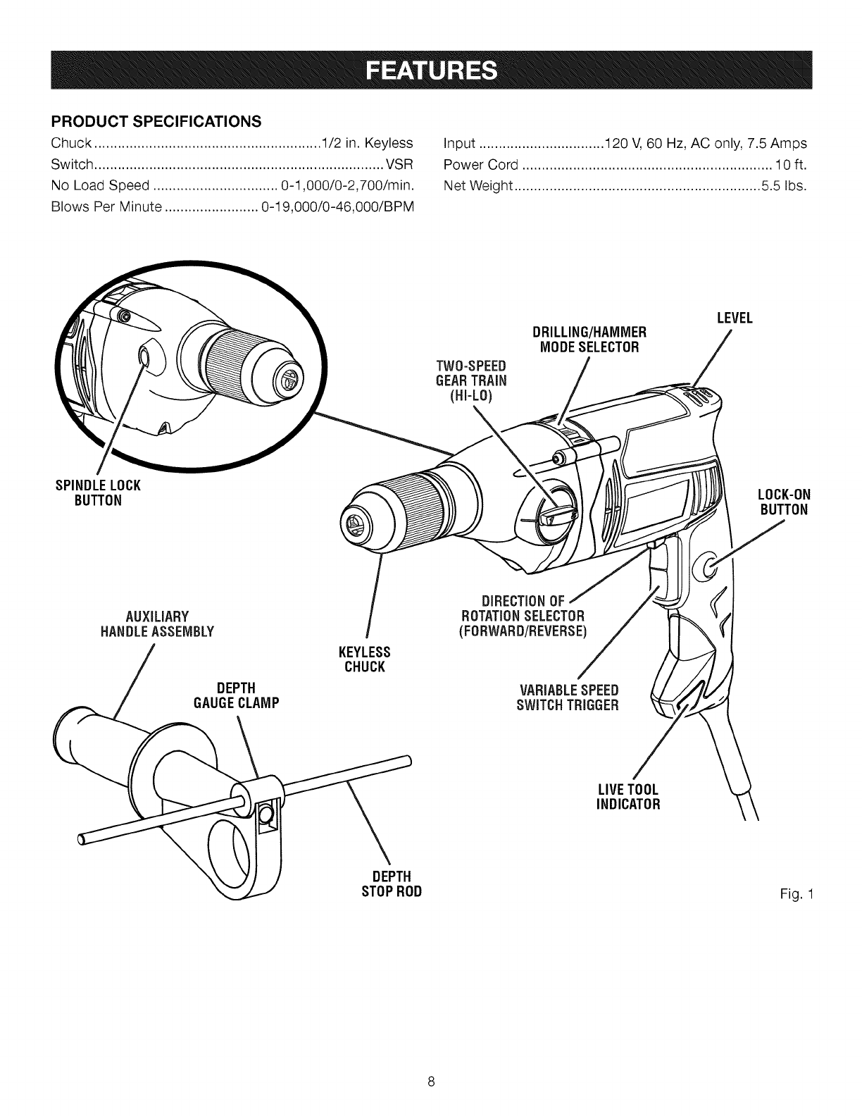Craftsman User Manual Hammer Drill Manuals And