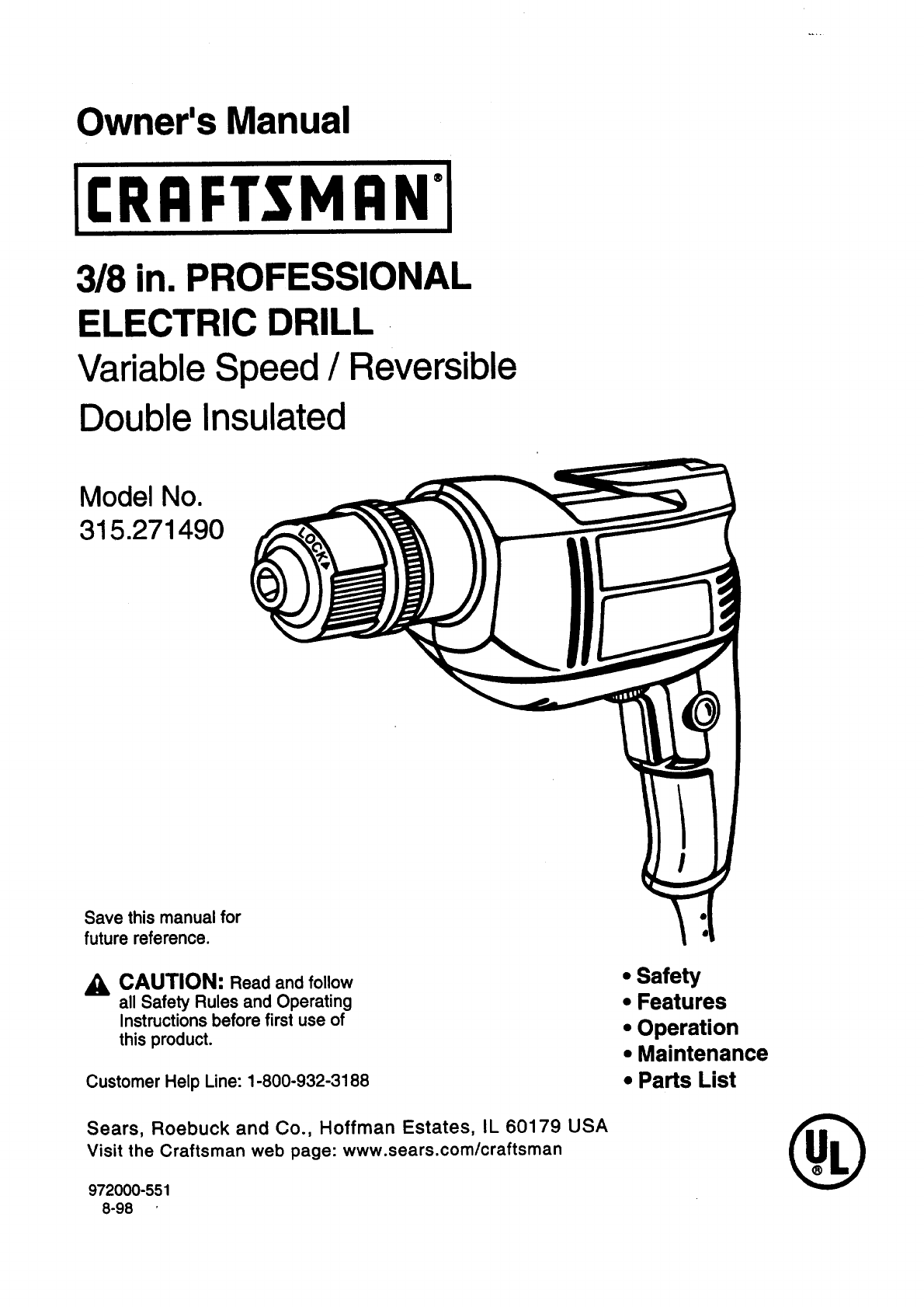 Craftsman Electric Drill Parts