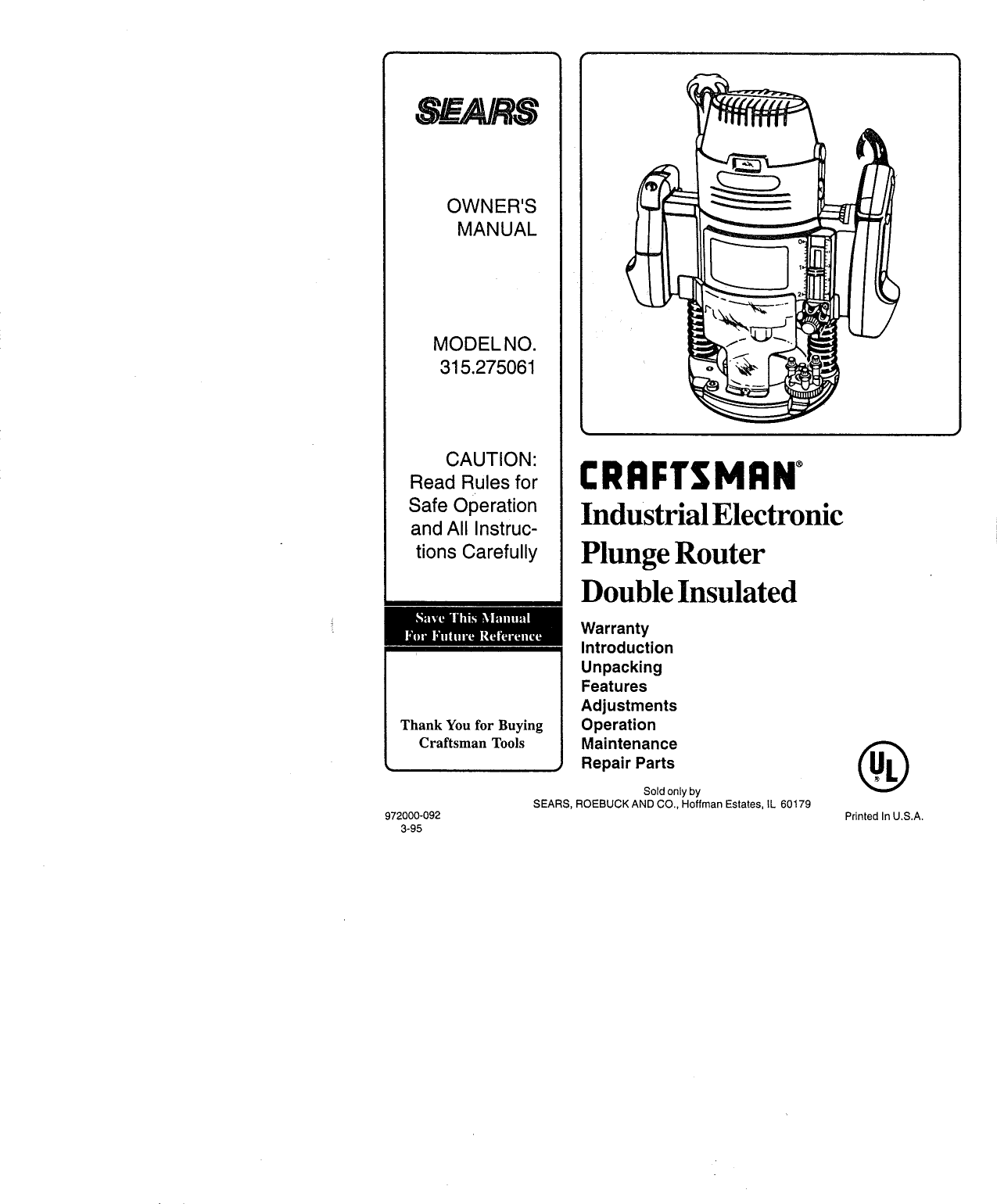 Craftsman 315275061 User Manual ROUTER Manuals And Guides