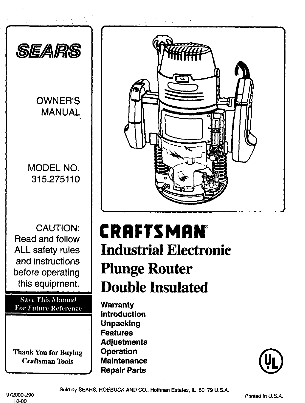 Craftsman 315275110 User Manual ELECTRONIC PLUNGE ROUTER