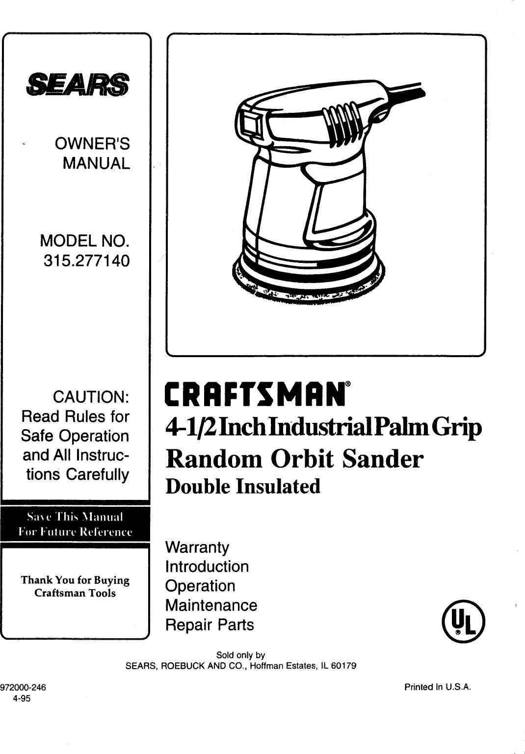 Craftsman 315277140 User Manual ORBIT SANDER Manuals And