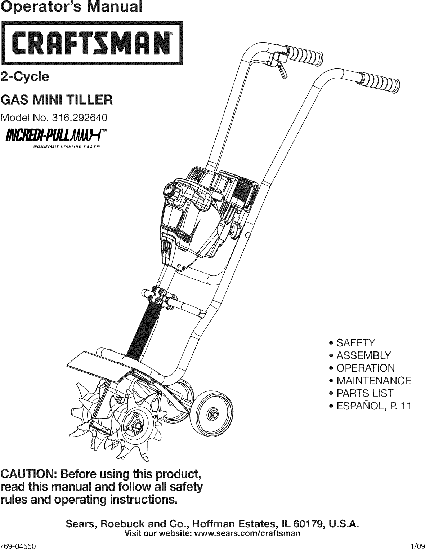 Craftsman 316292640 User Manual GAS MINI TILLER Manuals