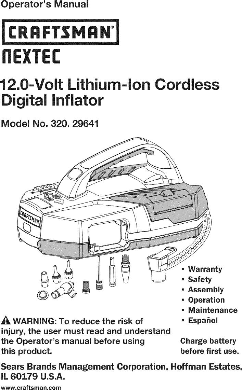 Craftsman 32029641 User Manual AIR COMPRESSOR Manuals And
