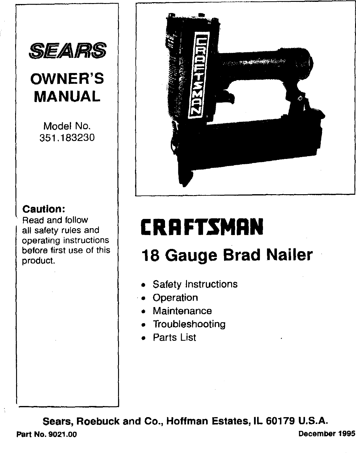 Craftsman 351183230 User Manual BRAD NAILER Manuals And