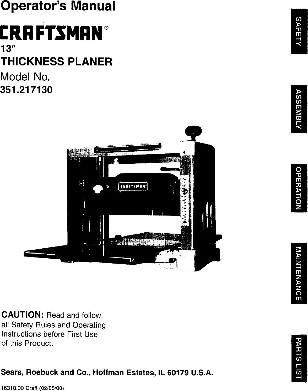Craftsman 351217130 User Manual 13 JOINTER/PLANER Manuals