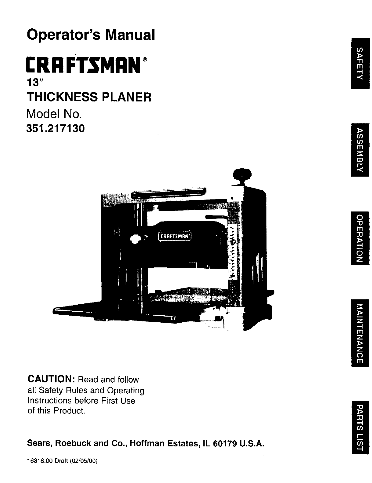 Craftsman Thickness Planer Manual