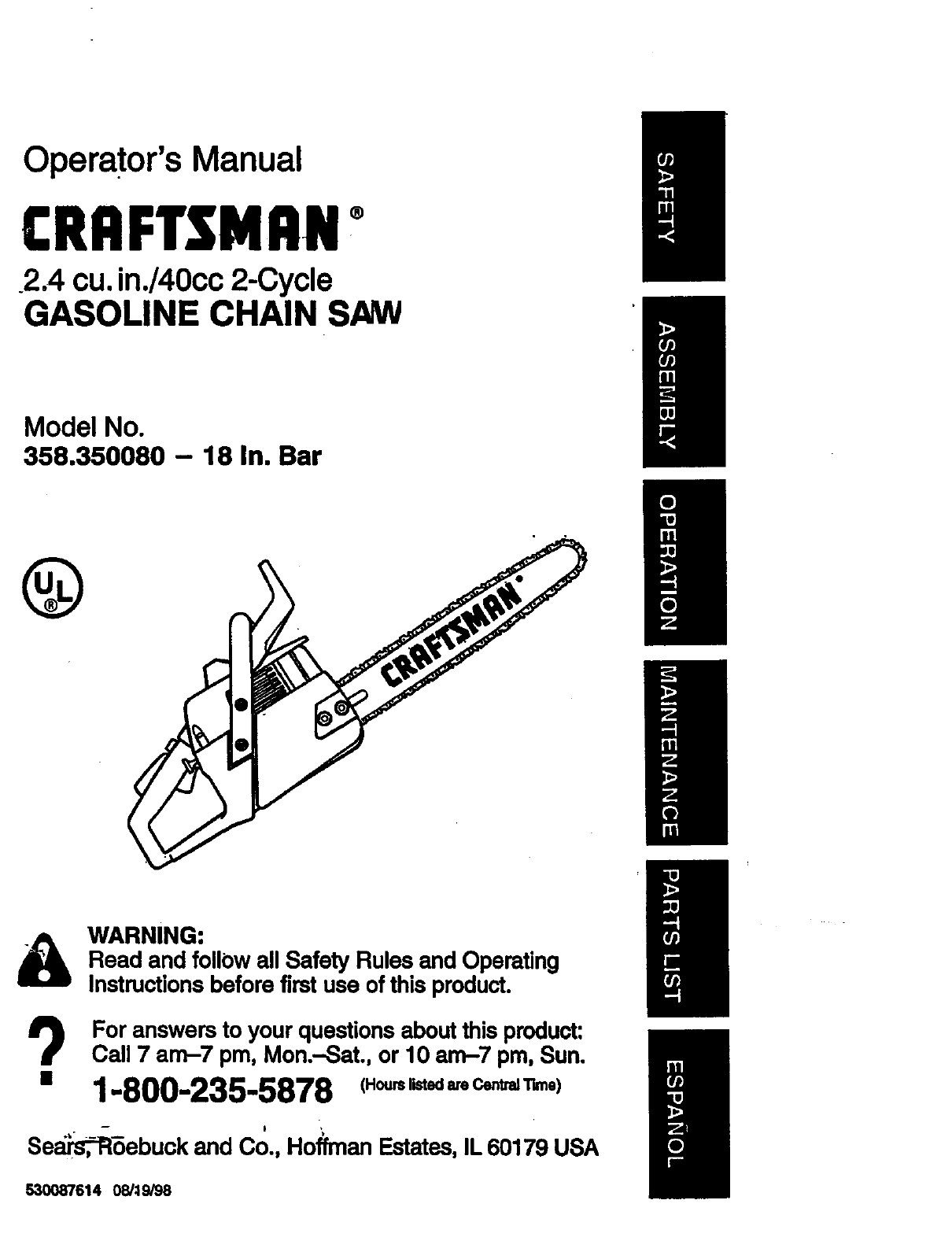 Craftsman 358350080 User Manual GAS CHAINSAW Manuals And
