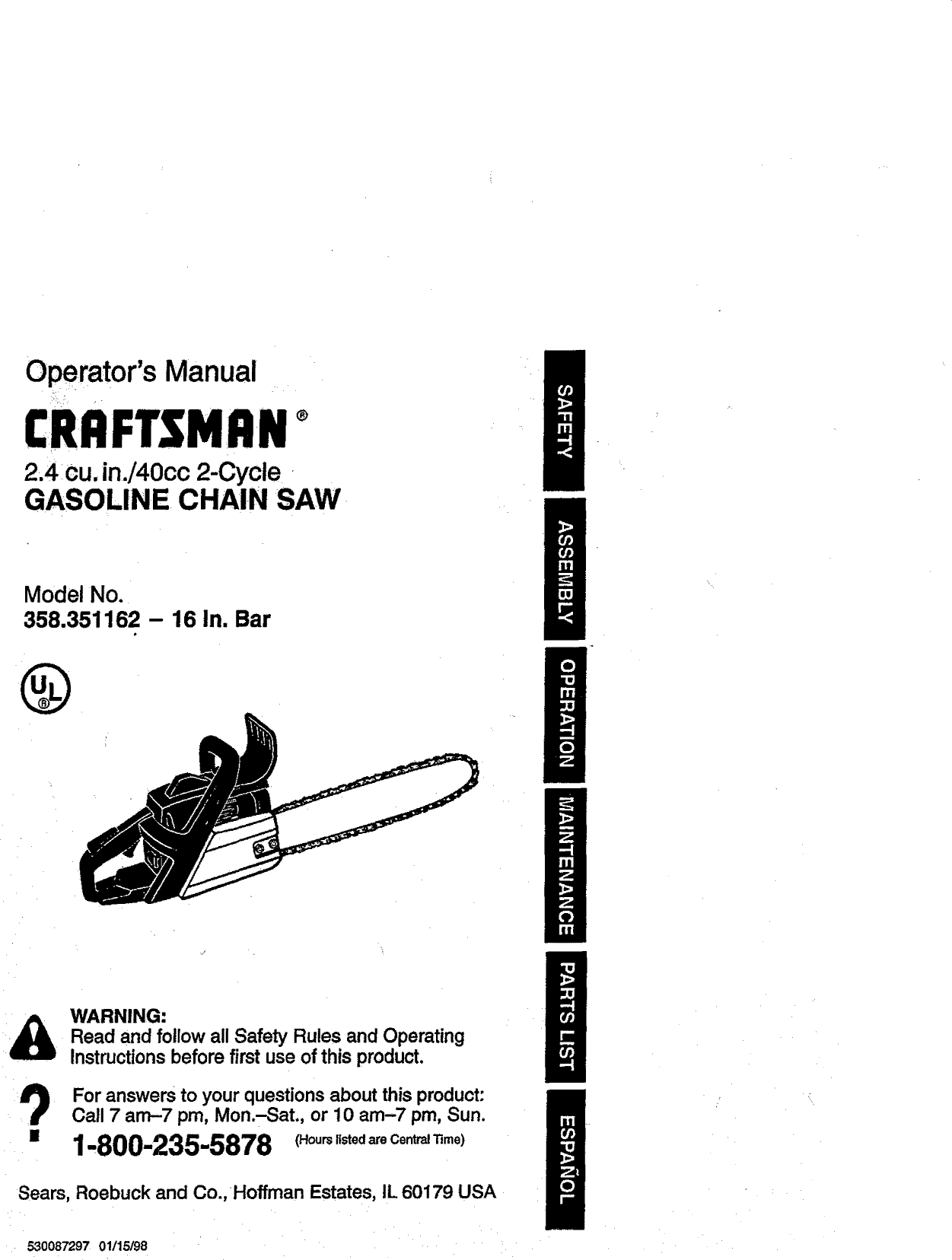 Craftsman 358351162 User Manual CHAINSAW Manuals And