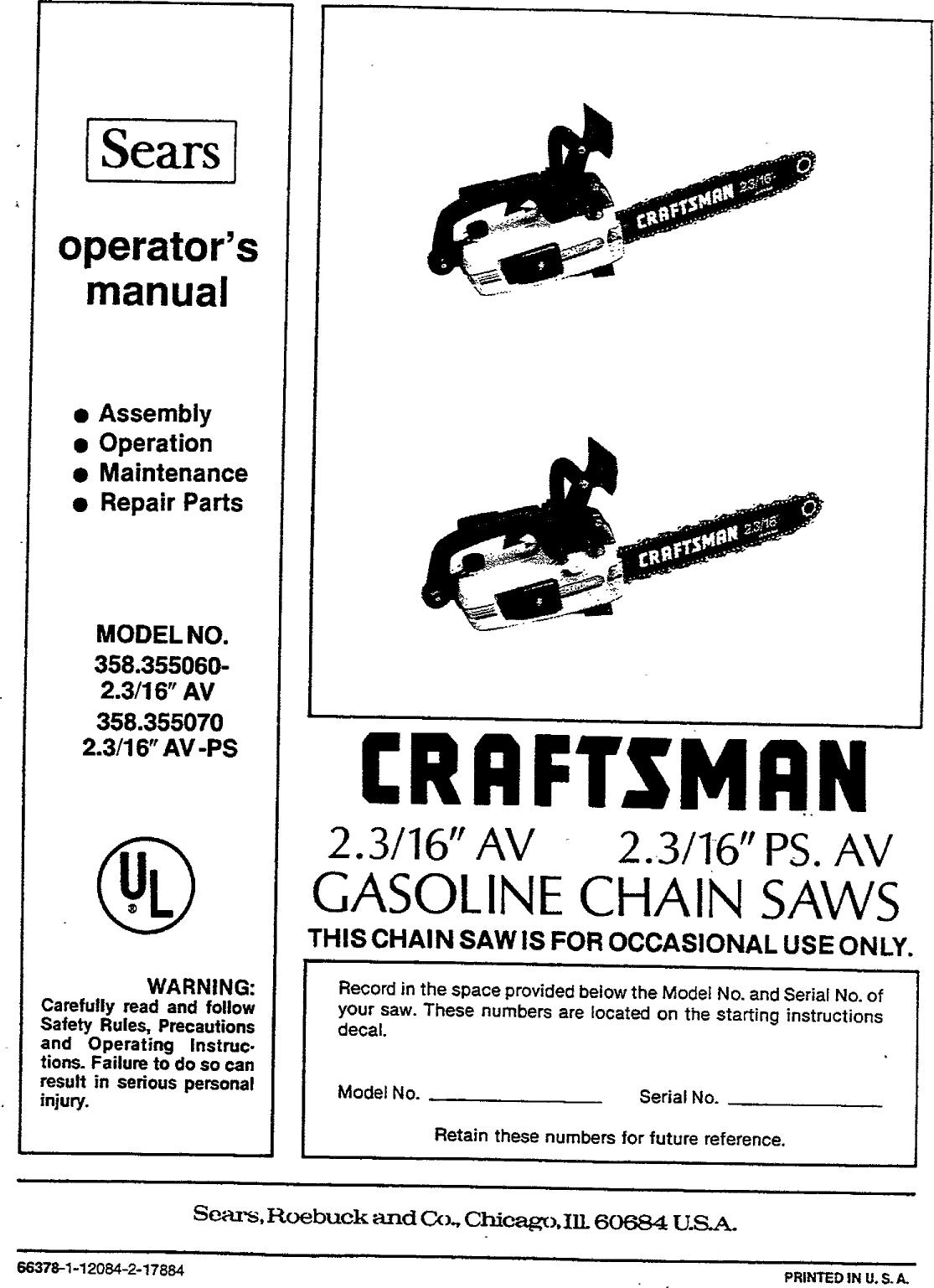 Craftsman 358355060 User Manual GASOLINE CHAIN SAWS
