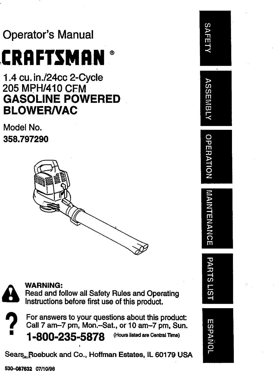 Craftsman 358797290 User Manual GAS BLOWER Manuals And