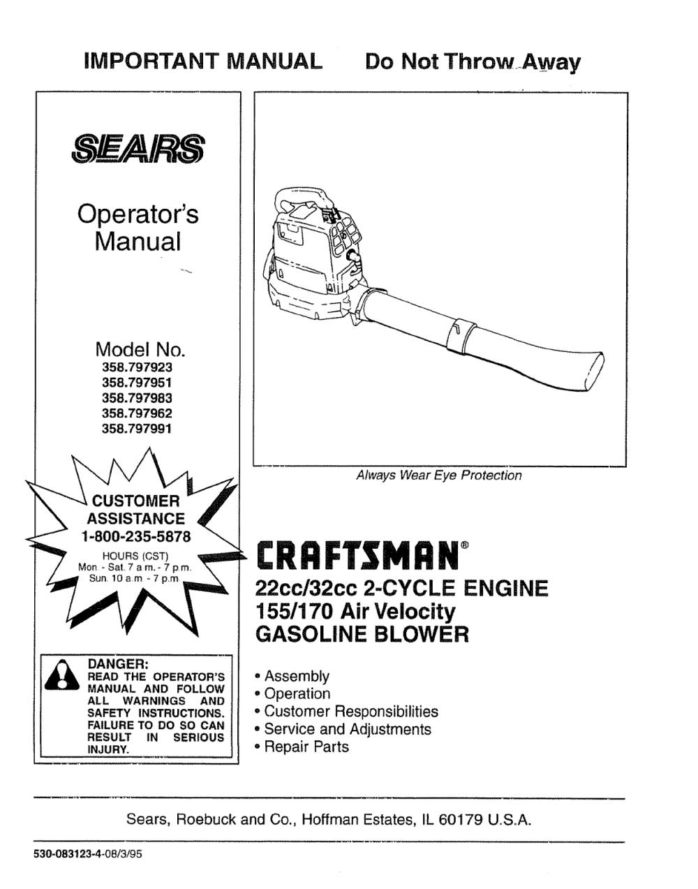 medium resolution of craftsman 358797923 user manual leaf blower manuals and guides l0805054 craftsman leaf blower wiring diagram