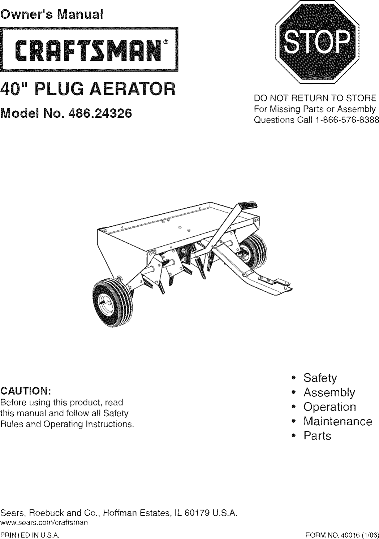 Craftsman 48624326 User Manual AERATOR Manuals And Guides