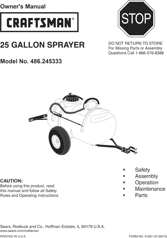 Craftsman 486245333 User Manual POWER SPRAYER Manuals And