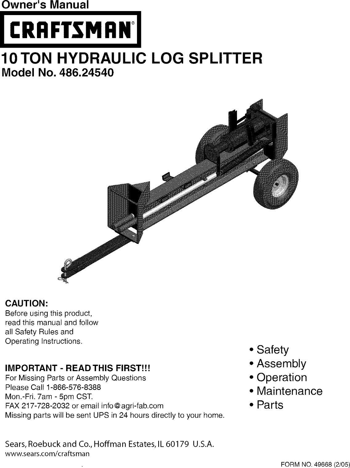 Craftsman 48624540 User Manual 10 TON HYDRAULIC LOG