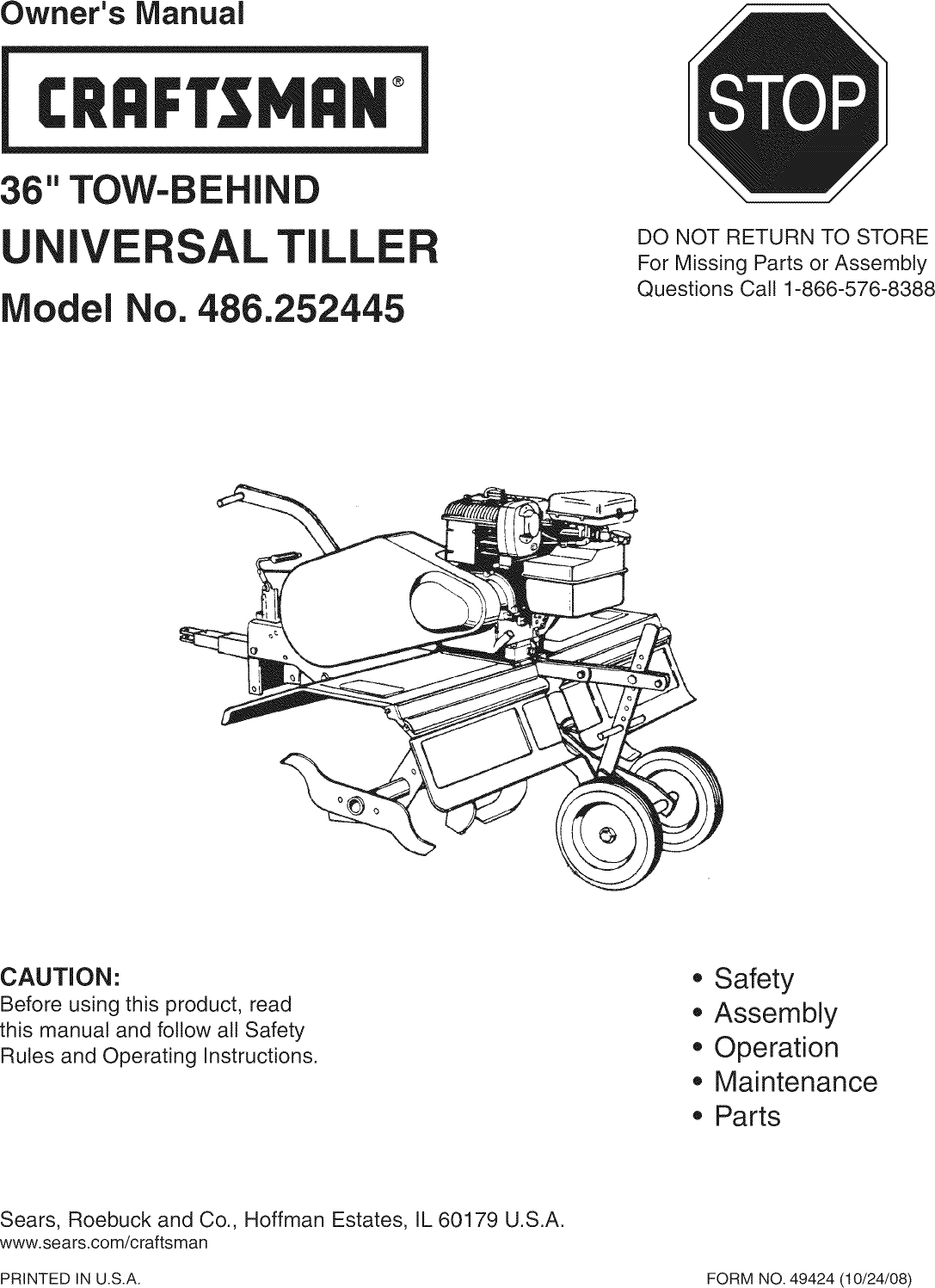 Craftsman 486252445 User Manual 36 TOW BEHIND TILLER