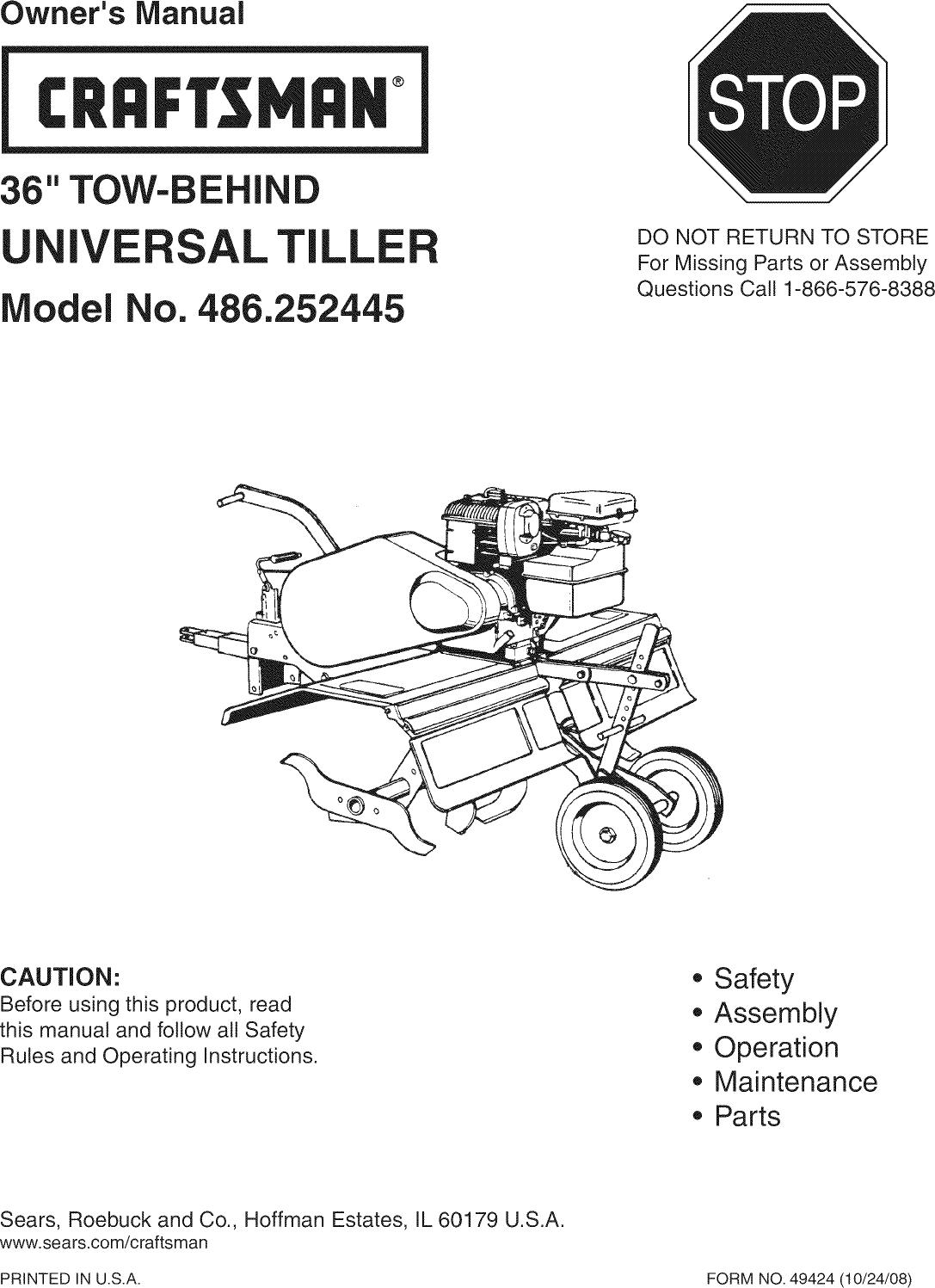 Craftsman 486252445 User Manual 36 TOW BEHIND TILLER