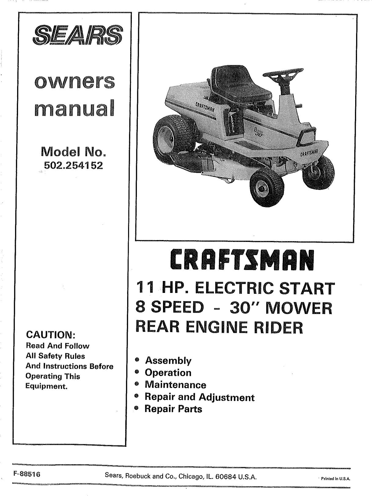Craftsman 502254152 User Manual 11 HP REAR ENGINE RIDER
