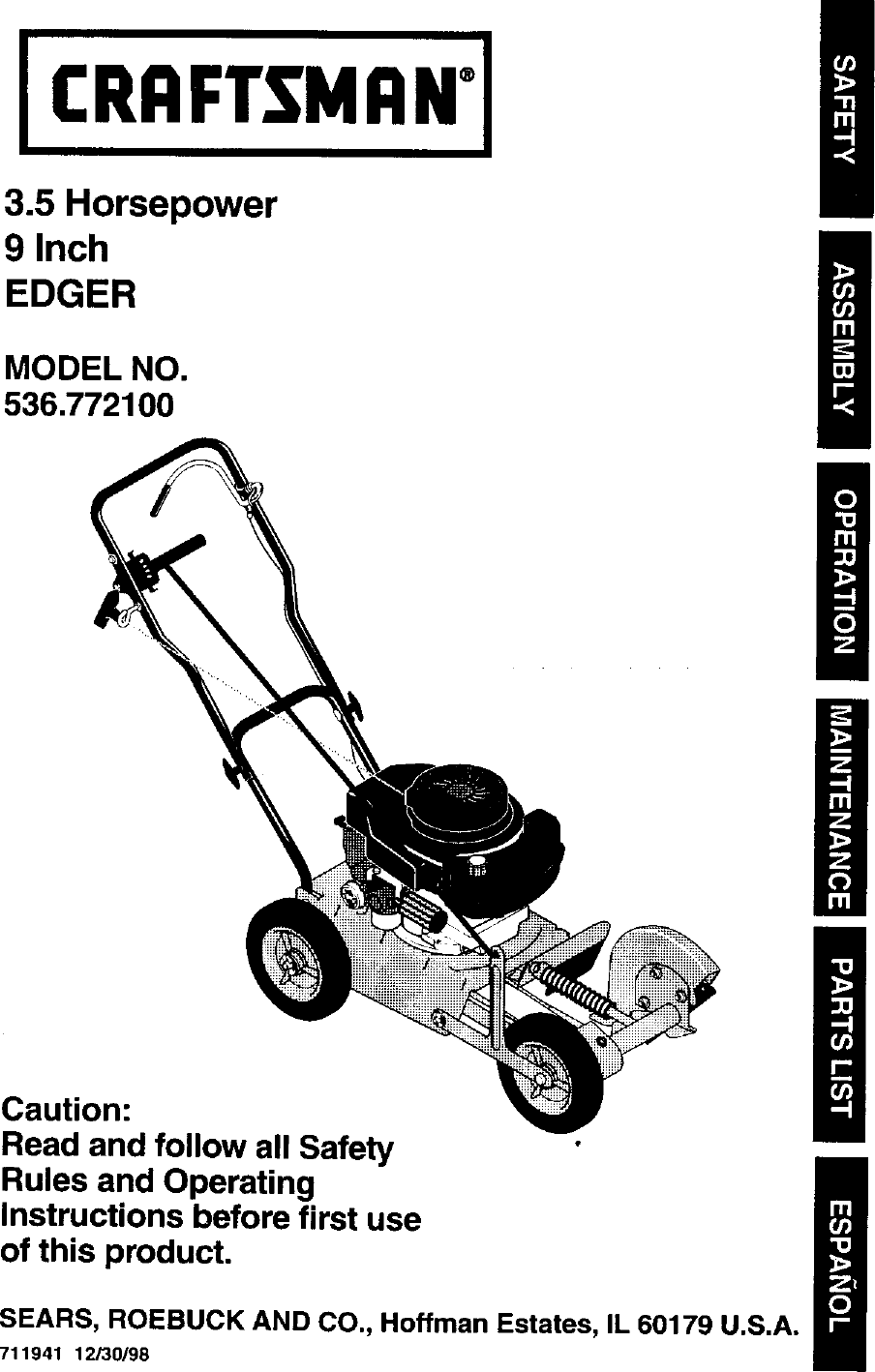 Craftsman 536772100 User Manual EDGER Manuals And Guides