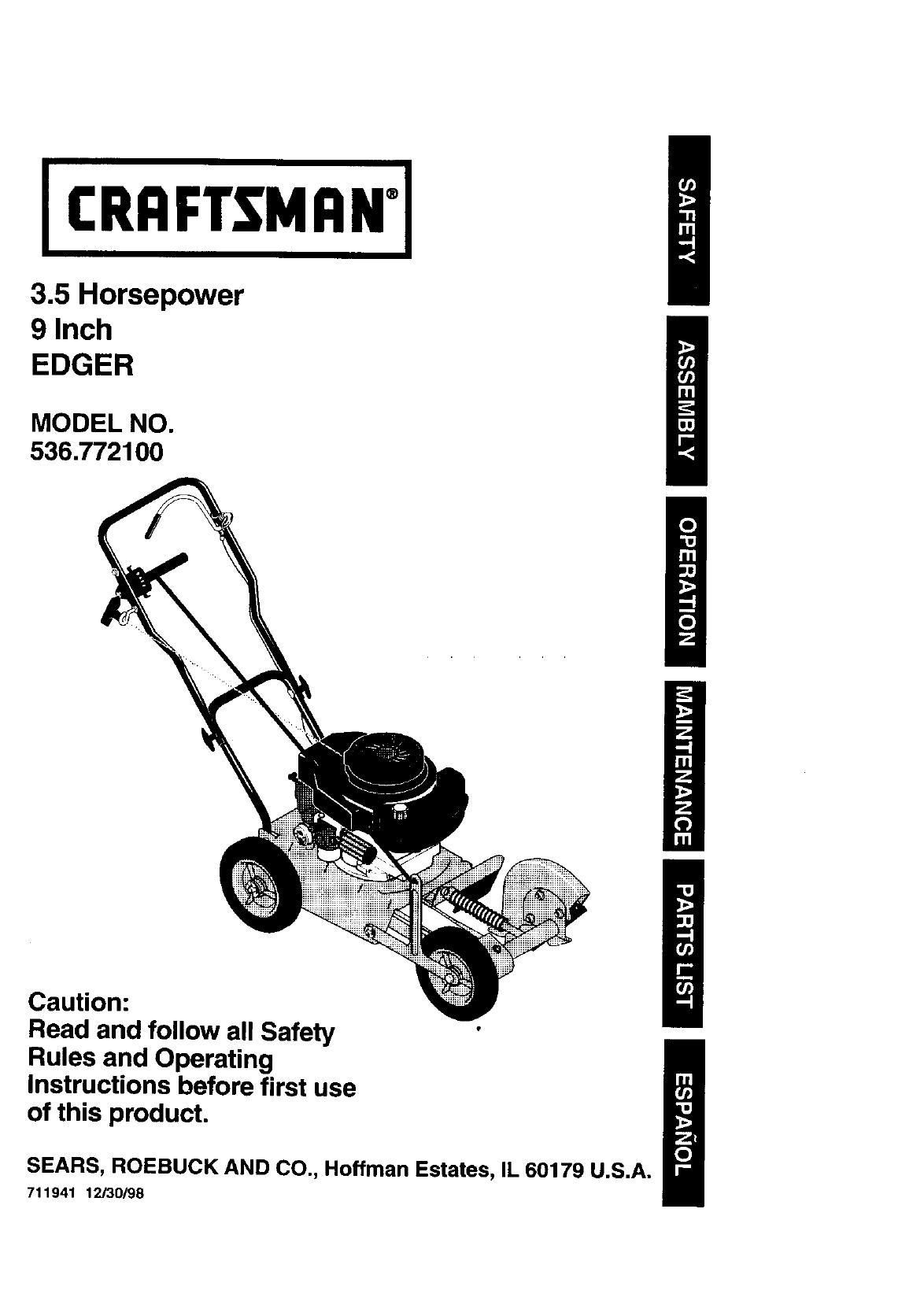 Craftsman 536772100 User Manual EDGER Manuals And Guides