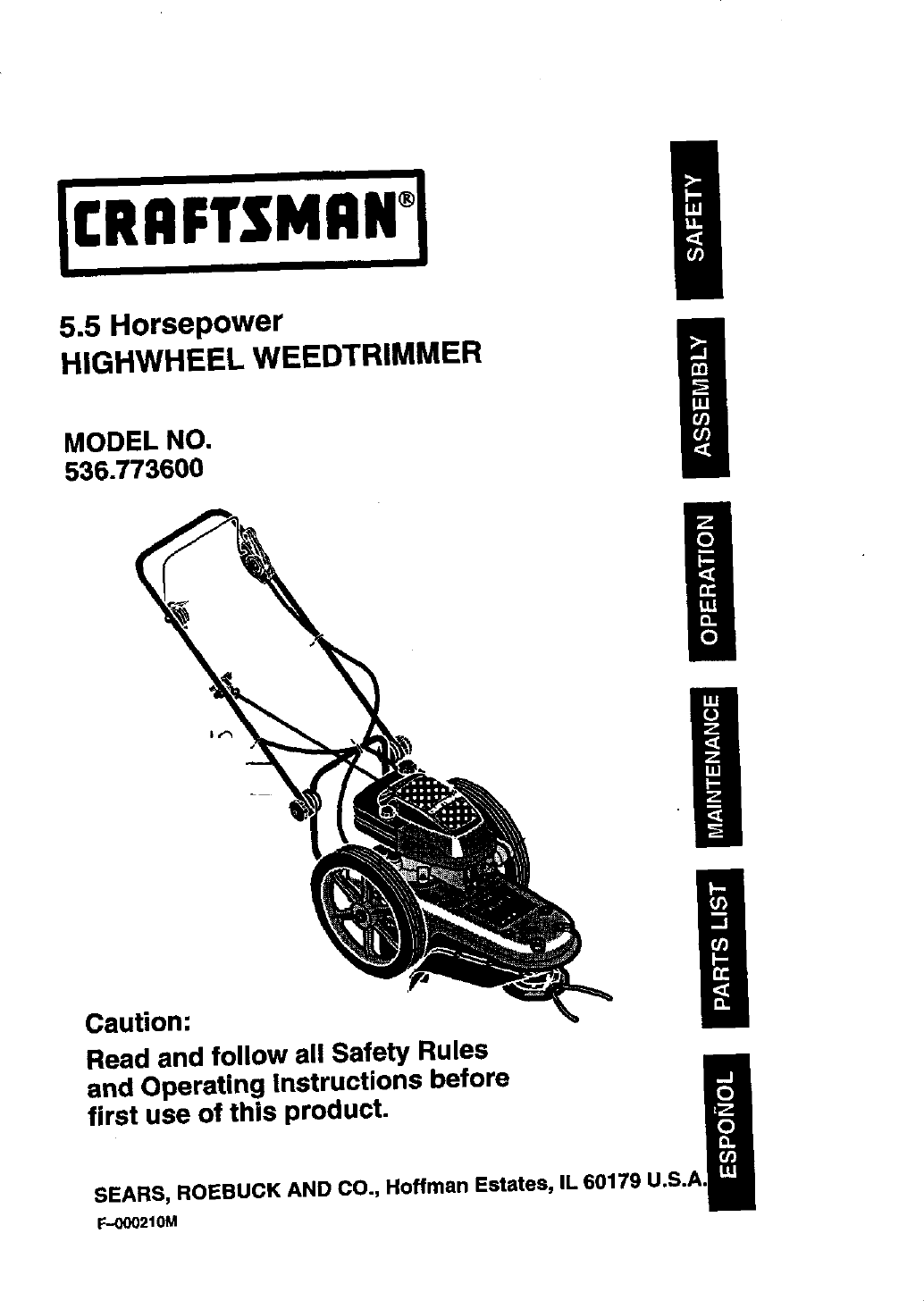 Craftsman 536773600 User Manual 5.5HP HIGHWHEEL