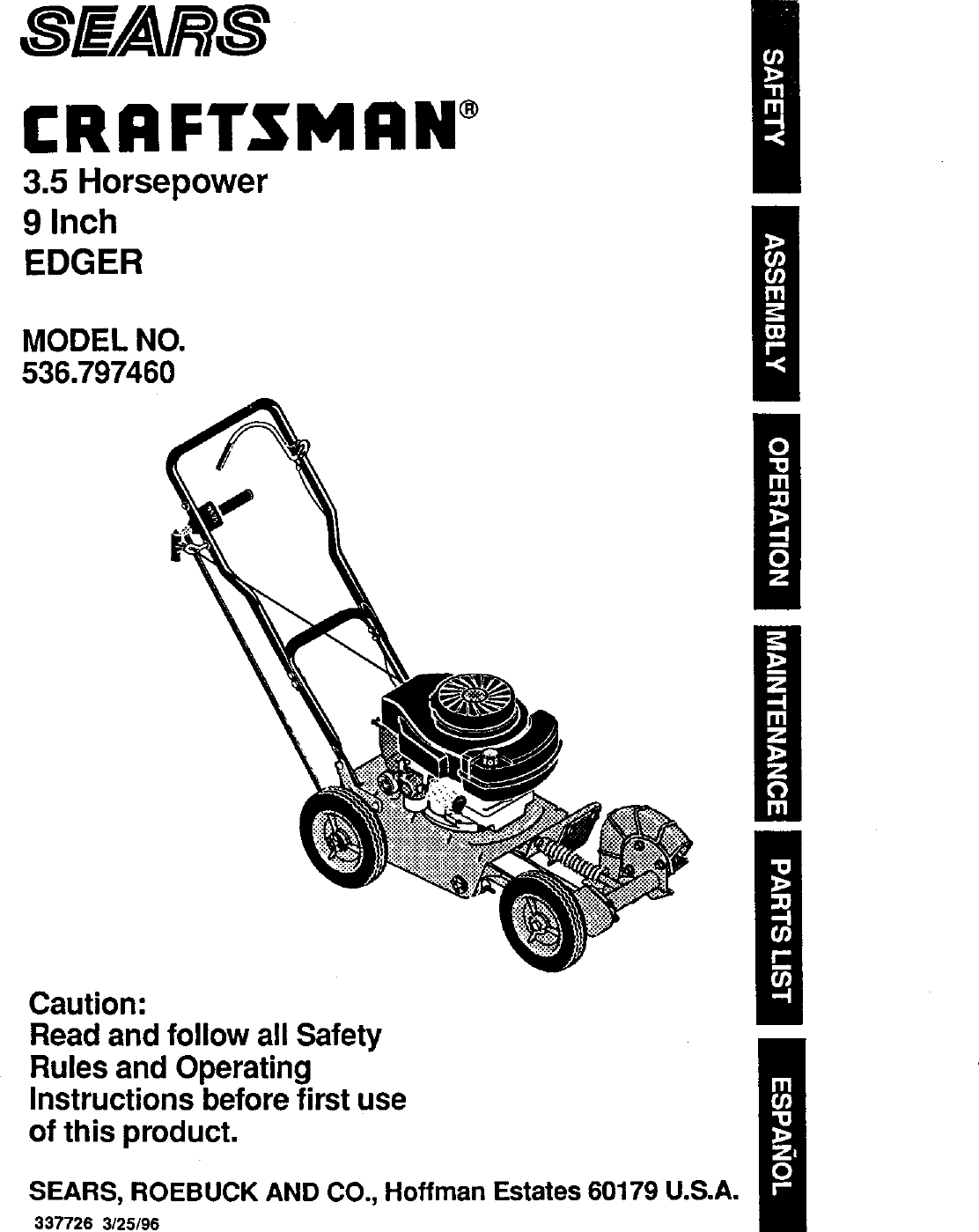 Craftsman 536797460 User Manual 3.5 HP 9 EDGER Manuals And