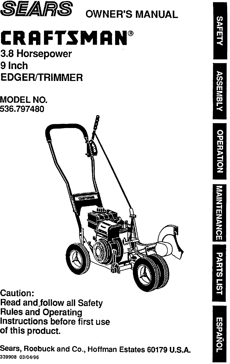 Craftsman 536797480 User Manual 3.8 HP 9 EDGER/TRIMMER