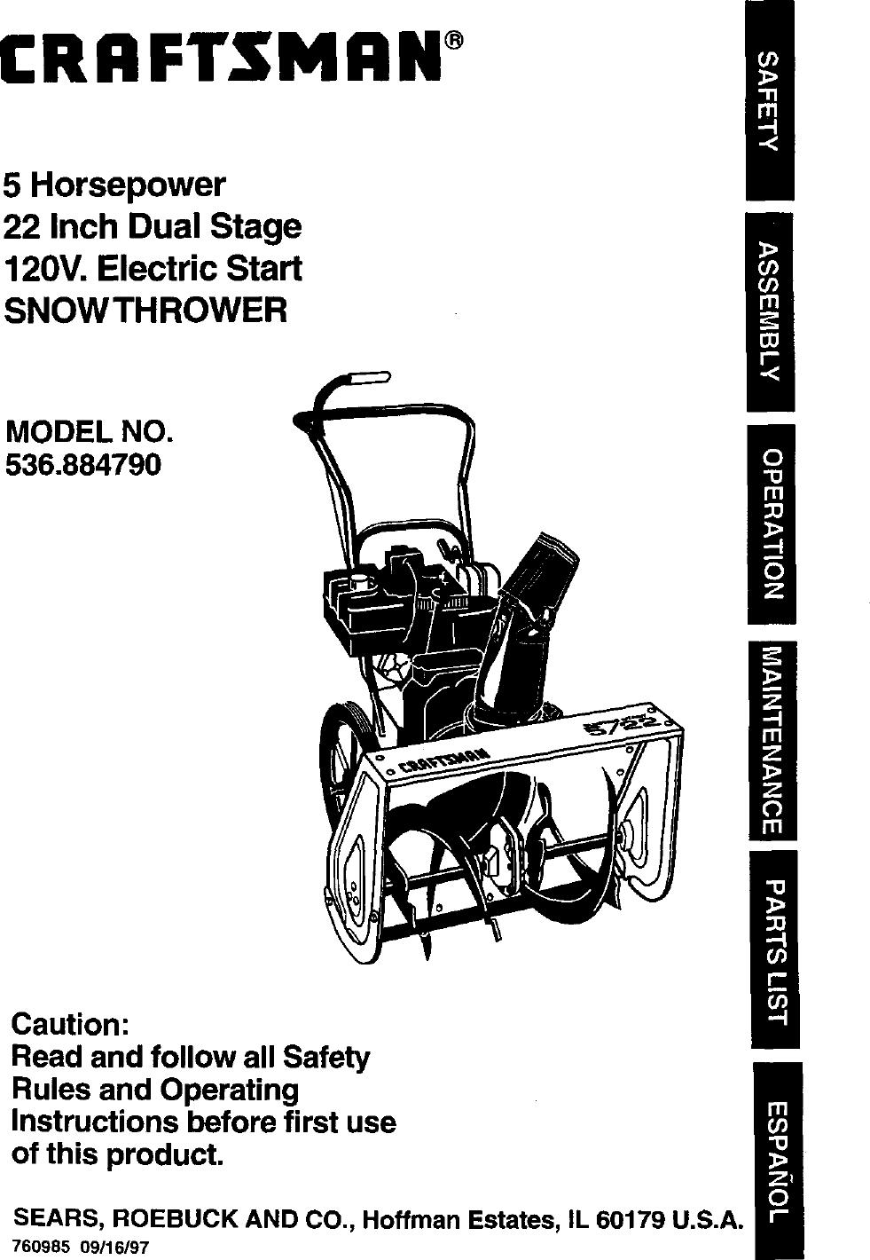 Craftsman 536884790 User Manual 5 HP SNOW THROWER Manuals