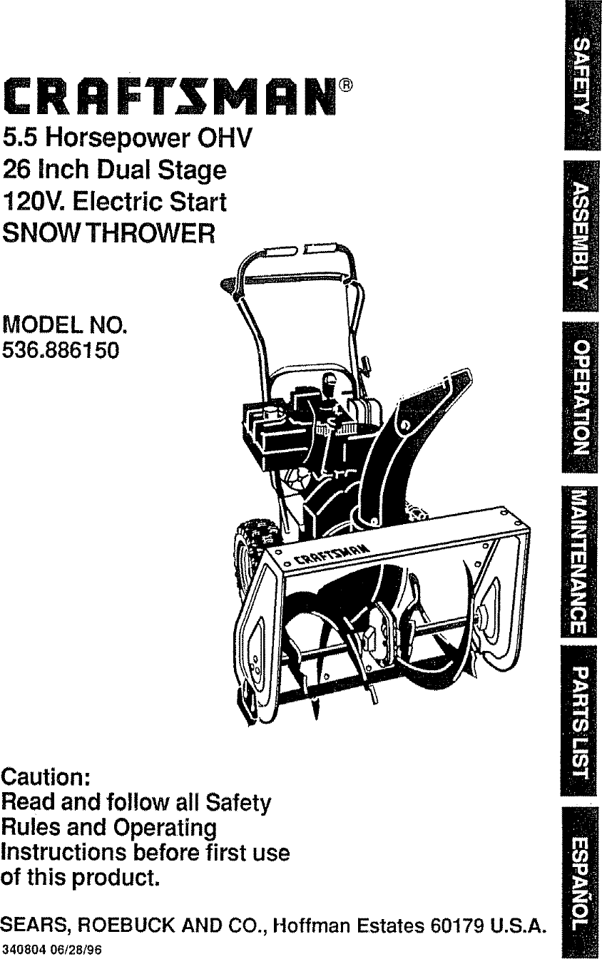 Craftsman 536886150 User Manual SNOW THROWER Manuals And